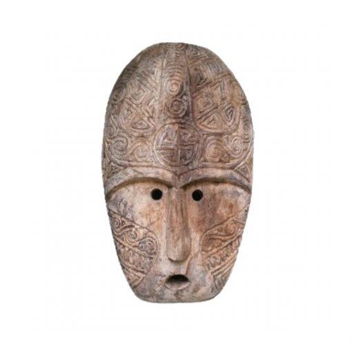 Masque bali traditionnel façonné en bois vieilli - vue face