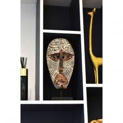 Masque balinais bi-color travaillé en bois vieilli - vue bibliothèque