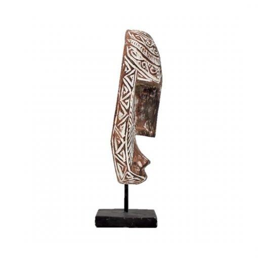 Masque balinais bi-color travaillé en bois vieilli - vue profil