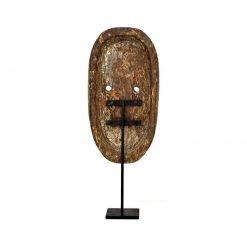 Masque de Bali sculpté en bois vieilli - arrière