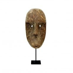 Masque de Bali sculpté en bois vieilli - face