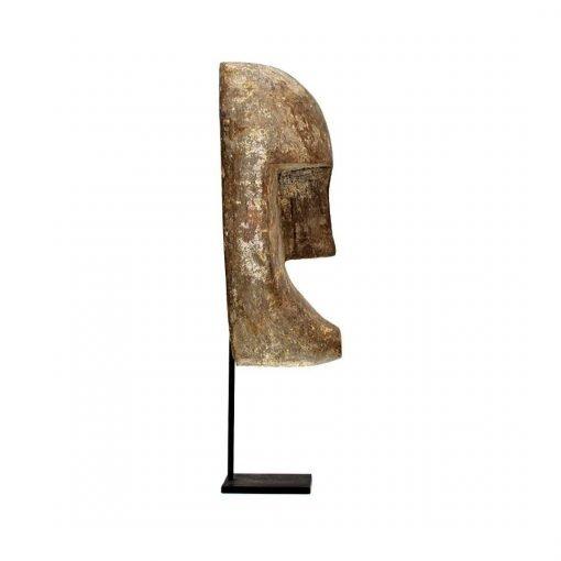 Masque de Bali sculpté en bois vieilli - profil