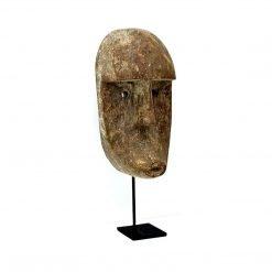 Masque de Bali sculpté en bois vieilli - quart
