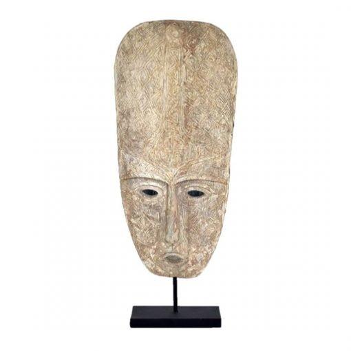 Très grand masque tribal toraja sculpté sur socle métal noir
