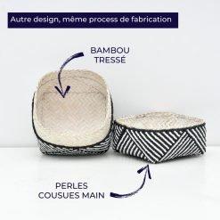 Boite balinaise en bambou tresse et perles cousues main